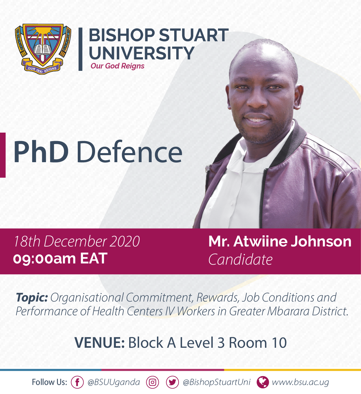 Event: PhD Defence - Mr. Atwiine Johnson