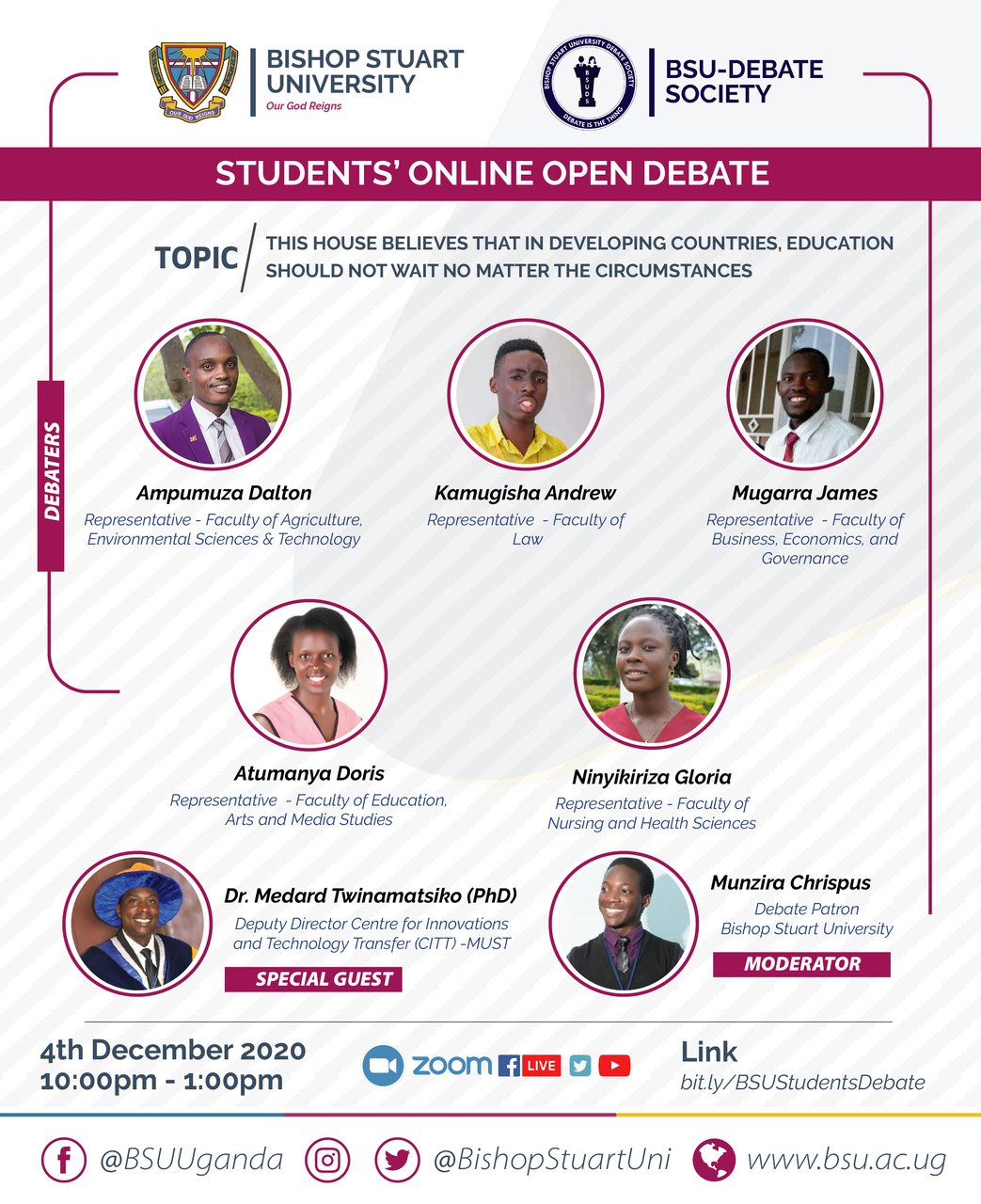 Bishop Stuart University Student's Online Open Debate