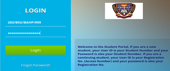 Students portal login Screen